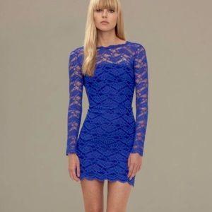 ALEXIS Blue Long Sleeve Lace Mini Maeve Dress
